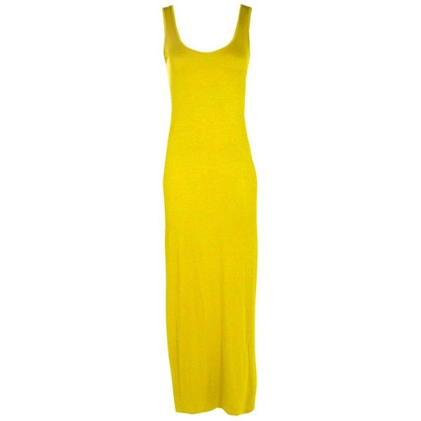 Boohoo Petite Petite Sandy Scoop Neck Maxi Dress ($14) ❤ liked on Polyvore featuring dresses, yellow dress, yellow maxi dress, petite dresses, yellow mini dress and night out dresses