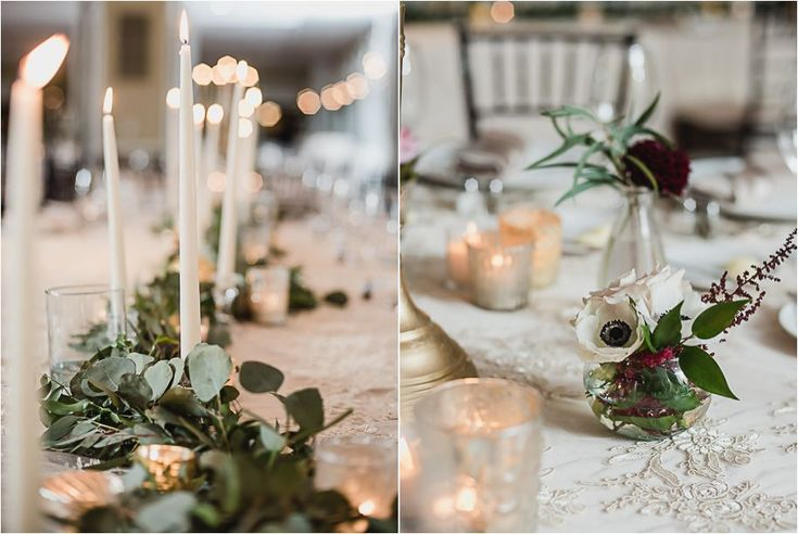 I'm obsessed with this elegant centerpiece. Small candles, candlesticks and bud vases full of ranunculus surround this gold urn full of lush greenery, cranberry dahlia, blush english tea roses, create a stunning unstructured centerpiece. Black tie Oakland