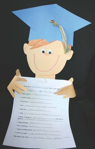 "FREE bio-writing prompt ""craftivity.""  Skip the mortarboard if you don't have a preschool/kindergarten graduation. Traced hands make this even more of a keepsake."