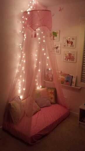 Reading corner,  repurposed crib mattress,  small spaces playroom