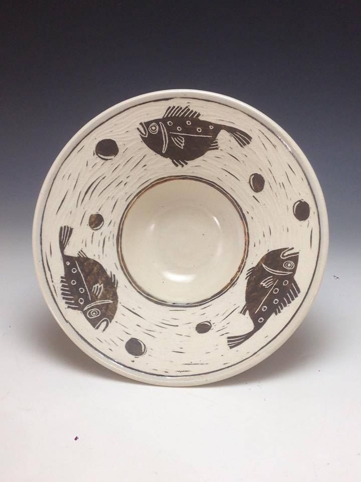 Porcelain Rim Bowl Stylized Fish Sgraffito Design Anne Webb  #sgraffito #pottery #fish