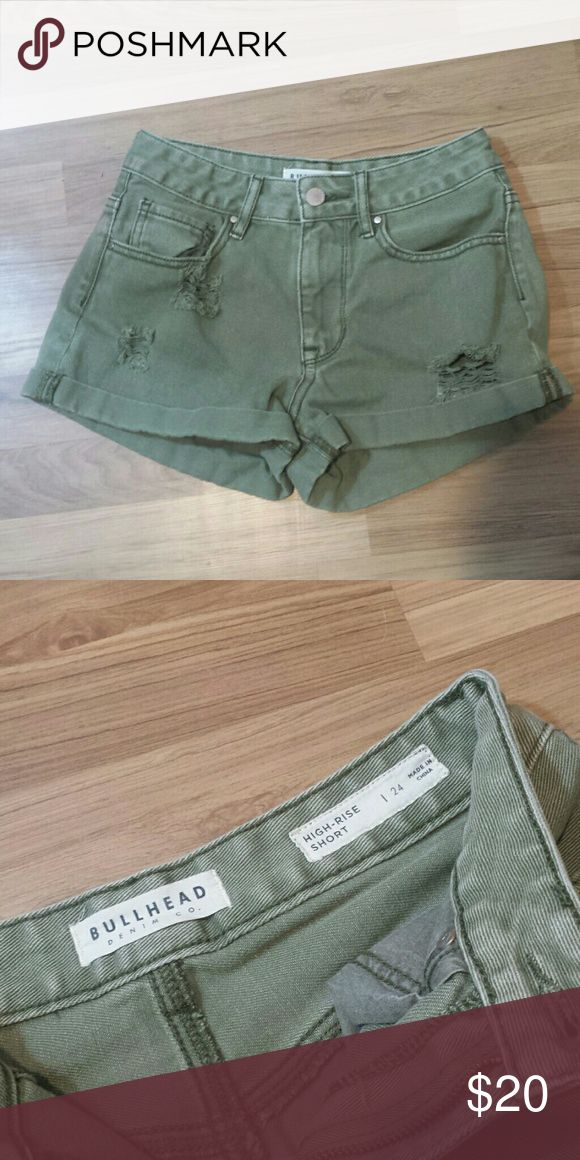 NWOT Pacsun high rise shorts!!! Olive green shorts. Bought from Pacsun, Brand is Bullhead denim co. PacSun Shorts Jean Shorts