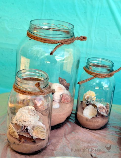 beach party crafts | Glass jars with sand, seashells, and rope: