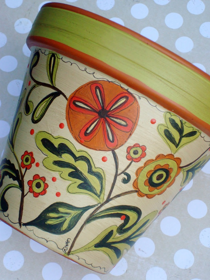 "Hand Painted Terracotta Pot- 6 Inch ""Bountiful Harvest"". $24.00, via Etsy."