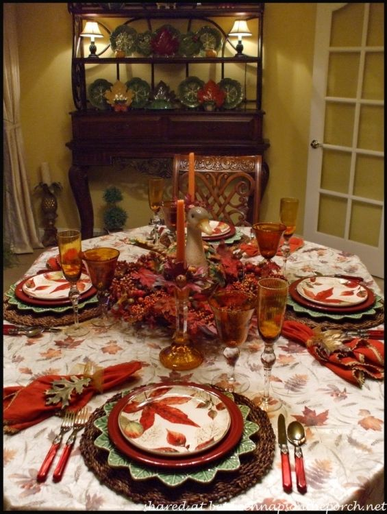 Fall Table Setting Tablescape with an Autumn Goose Tureen Centerpiece