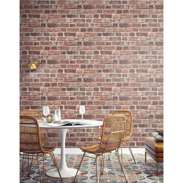 Transform Transform Brick Red Vinyl Peelable Roll Covers 30 75 Sq Ft 108309 The Home Depot Brick Wallpaper Peel And Stick Red Brick Wallpaper Brick Wallpaper