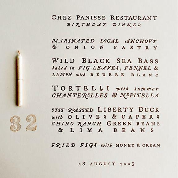Cynthia Warren's hand lettered birthday menu.Menu Design, Cynthia Warren, Birthday Menu, Menu Cards, Birthday Invitations, Dinner Menu, In Panisse, Typography, Birthday Dinner
