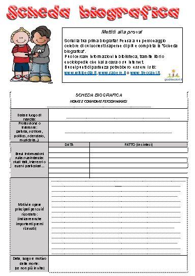 Il testo biografico schede didattiche scuola primaria for Puoi ottenere un prestito per la terra