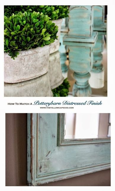 How To Match a Potterybarn Distressed Finish~DIY tutorial on painting a mirror to match PB candlesticks