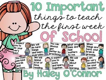 I created these posters to go along with my blog post 10 Most Important Things To Teach During the First Week of SchoolThey would be perfect to hang as classroom rules, to discuss in morning meeting, or as conversation starters throughout your first week!