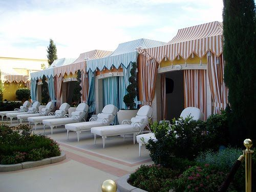 Circus Striped Pool Cabanas Under The Big Tent