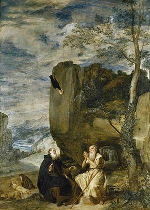 San Antonio Abad y San Pablo, primer ermitaño fue pintado por Velázquez en 1634 y se conserva en el Museo del Prado de Madrid (España) desde la creación de la pinacoteca en 1819.
