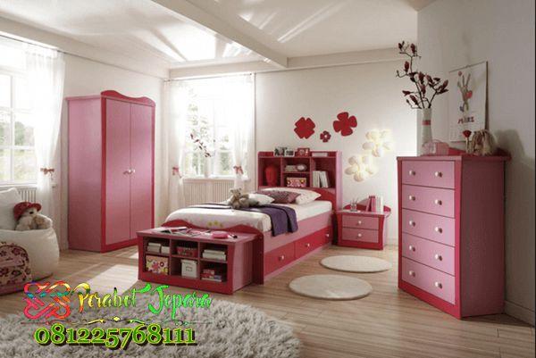 Tempat Tidur Anak Perempuan Minimalis Terbaru - jual kamar set anak perempuan minimalis untuk anak remaja model terbaru kayu jati cat duco pink harga murah