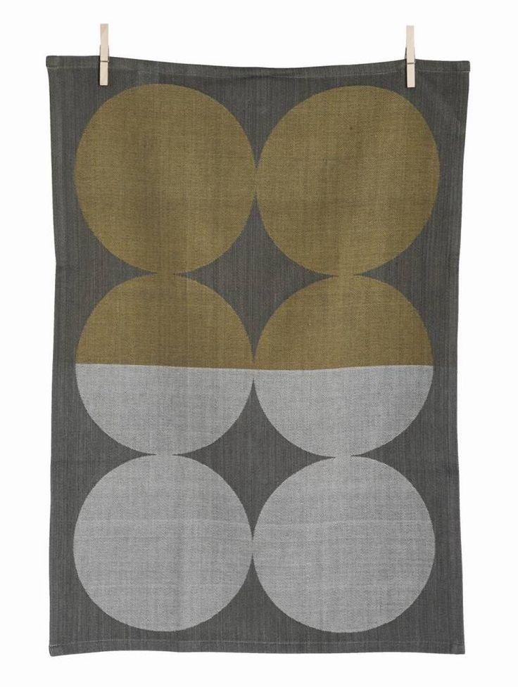 Ferm Living Cotone piatto asciugamano Luna, marrone / grigio, 50x70cm