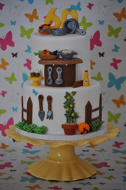 A gardening & cooking cake. The details here are wonderful.