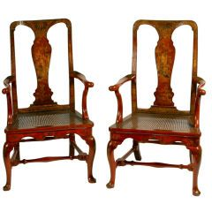 Pair of Red Lacquer Queen Anne Armchairs