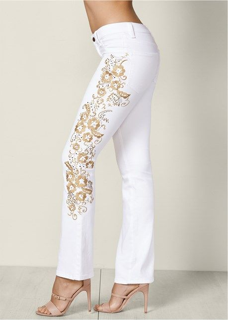 EMBROIDERED BOOT CUT JEANS, TIE FRONT BUTTON UP TOP