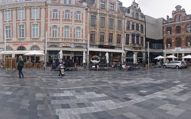 360° panoramic view of Martelarenplein in Leuven city. Leuven is the most famous town for students in Belgium. English is more commonly used here than other cities due to the influx of foreign students.