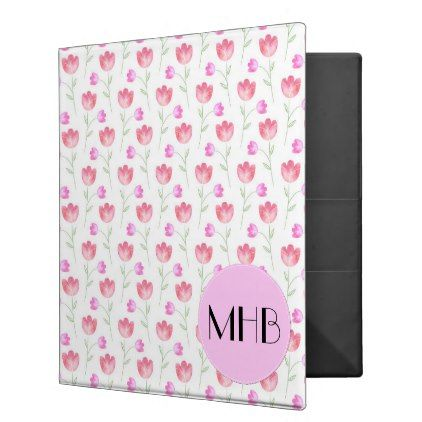 Monogram - Flowers Leaves Plant Stems - Pink 3 Ring Binder - white gifts elegant diy gift ideas