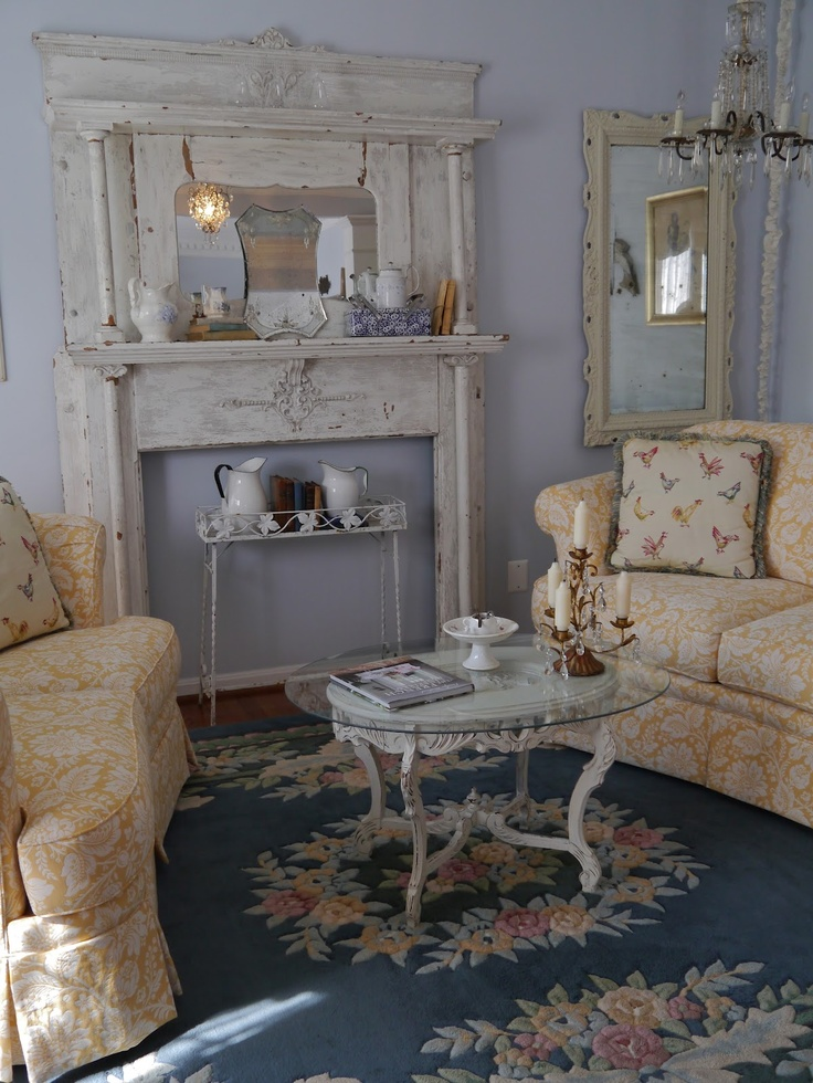 Beautiful faux fireplace mantels and fireplaces - Manteles shabby chic ...