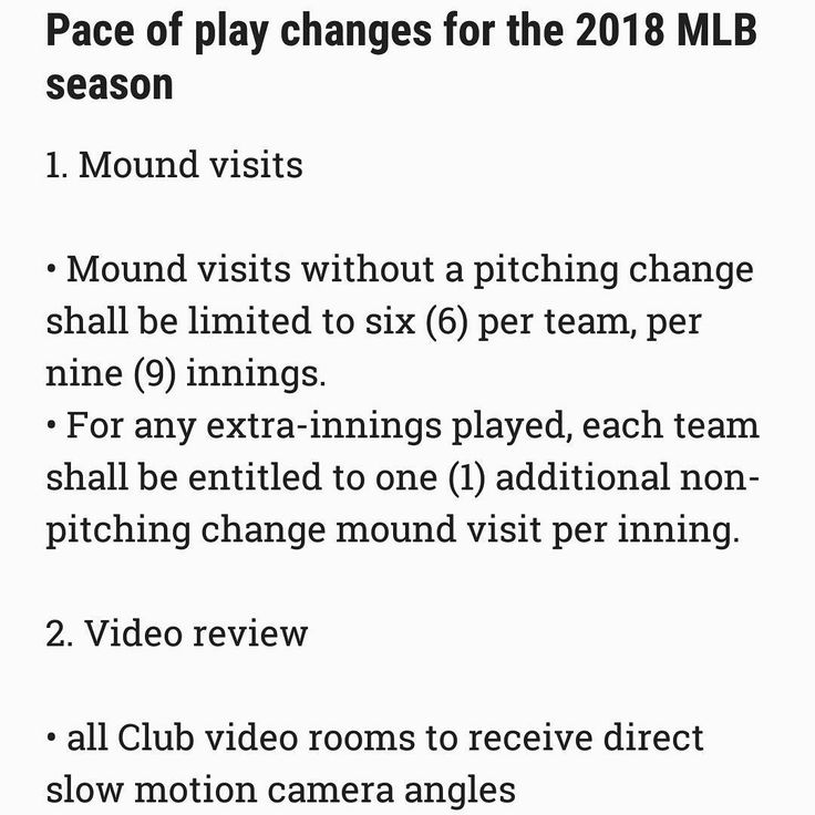Official pace of play changes for the 2018 MLB season.  #mlb #baseball #baseballplayers #baseballnews #news #official #redsox #orioles #yankees #mets #nats #marlins #tampabayrays #indians #reds #dbacks #dodgers #angels #athletics #SFGiants #rockies #mariners #minnesotatwins #brewers #cubs #whitesox #tigers #texasrangers #stlcards #royals
