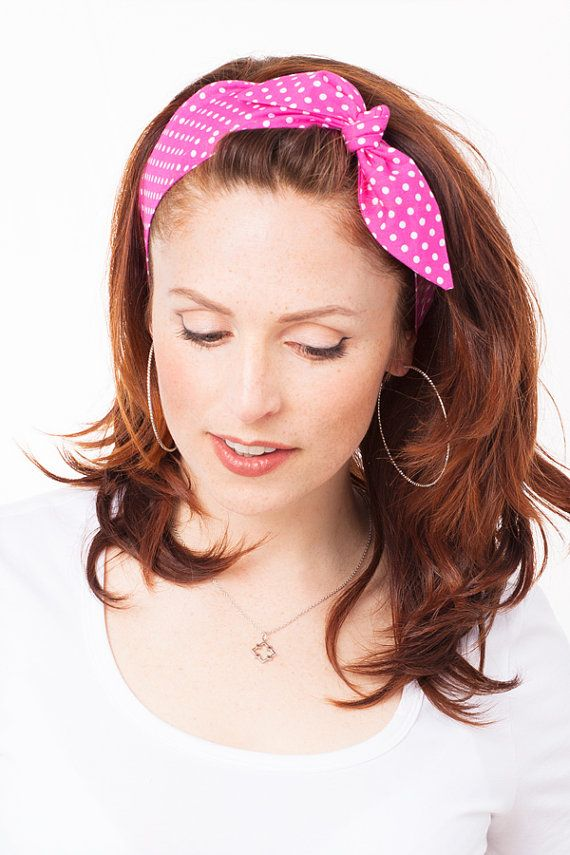 Pink Headband Polka Dot Headband Minnie Mouse by MinitaStudio