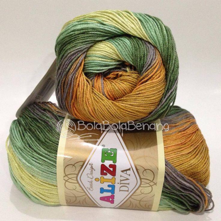 ALIZE DIVA BATIK 3239, Price: 90.000,-/gulung, Bahan: 100% Microfiber Akrilik, Berat/Panjang: 100gr/350m, Knitting Needles: 2,5mm – 3,5mm, Crochet Hook: 1mm - 3mm
