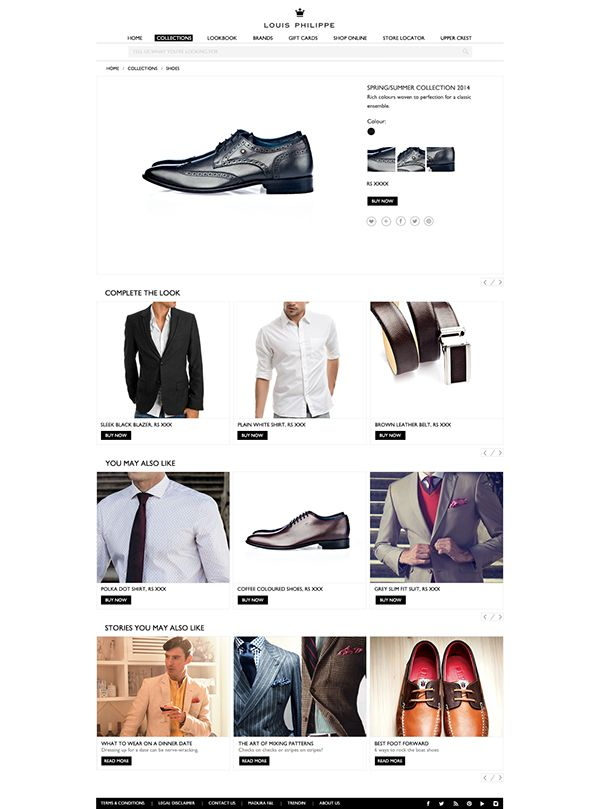 Louis Philippe website on Web Design Served