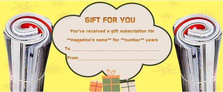 Magazine Subscription Gift Certificate Template 10 With Magazine Subscript Magazine Subscription Gift Gift Certificate Template Free Gift Certificate Template