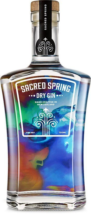 Sacred Spring Gin Bottle transparent