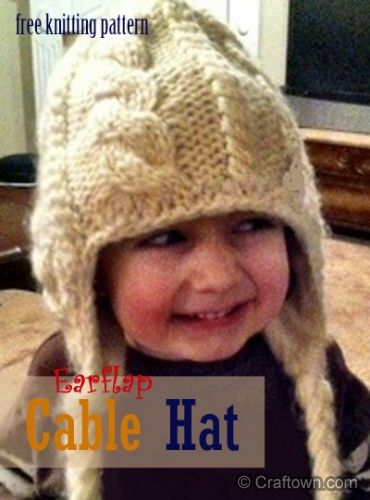 Free Knitting Pattern - Cabled Earflap Hat (another fun hat for kids) #craftown #knitting
