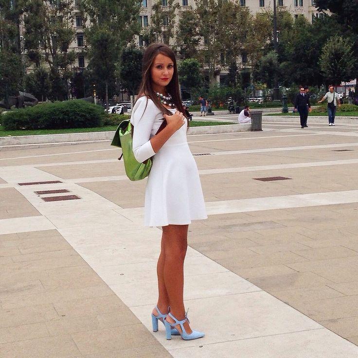 Federica Zizzi - Zara Dress, Maison Bottalico Backpack, Zara Shoes - White | LOOKBOOK