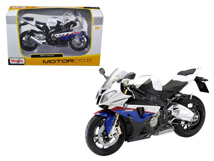 BMW S1000RR White/Red/Blue Motorcycle 1/12 Diecast Model by Maisto - Wheels roll and steer. Made of die cast metal with some plastic parts. Approximate Dimensions: L-7, H-4.25, W-1.75 Inches. Please note that manufacturer may change packing box at anytime. Product will stay exactly the same.-Weight: 1. Height: 5. Width: 9. Box Weight: 1. Box Width: 9. Box Height: 5. Box Depth: 5