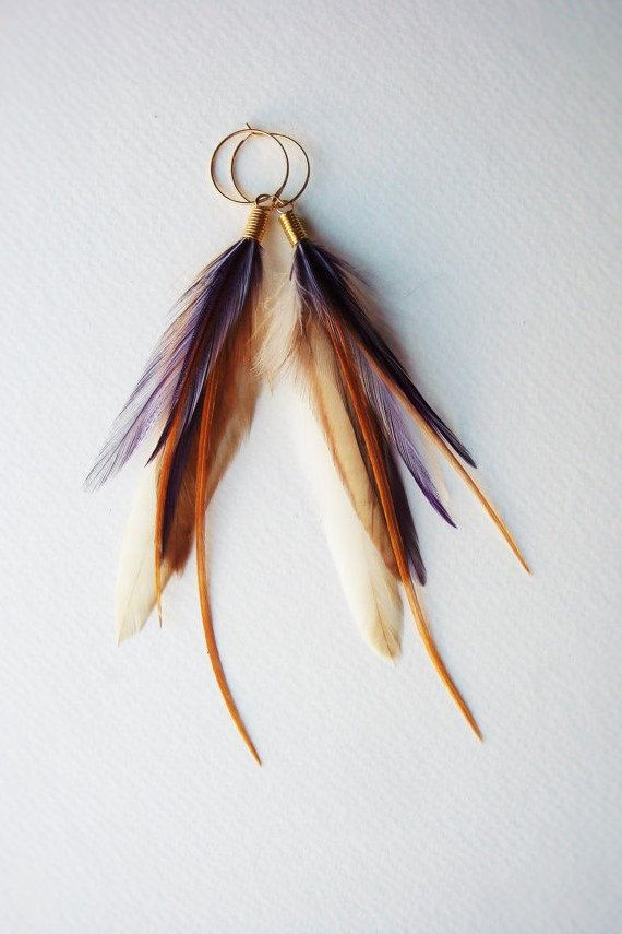 Amethyst Feather Earrings Mayfly Jewelry