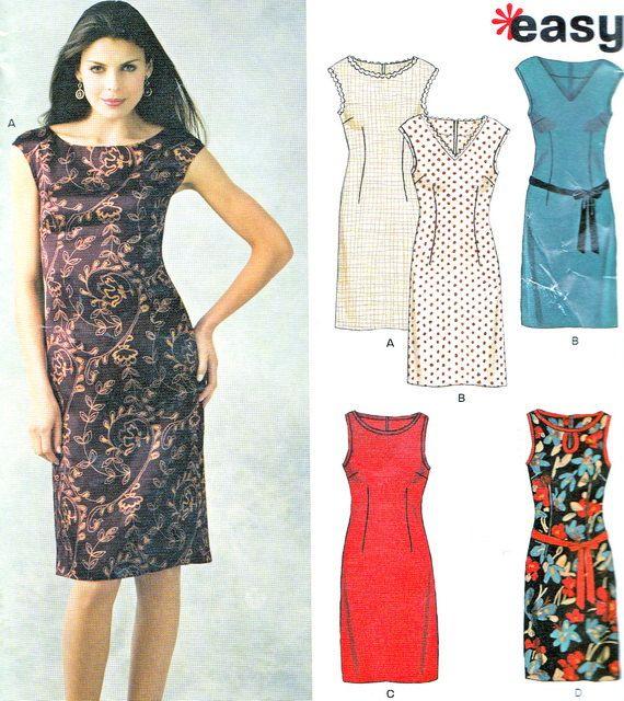 new look 6643 womens sleeveless sheath dress sewing