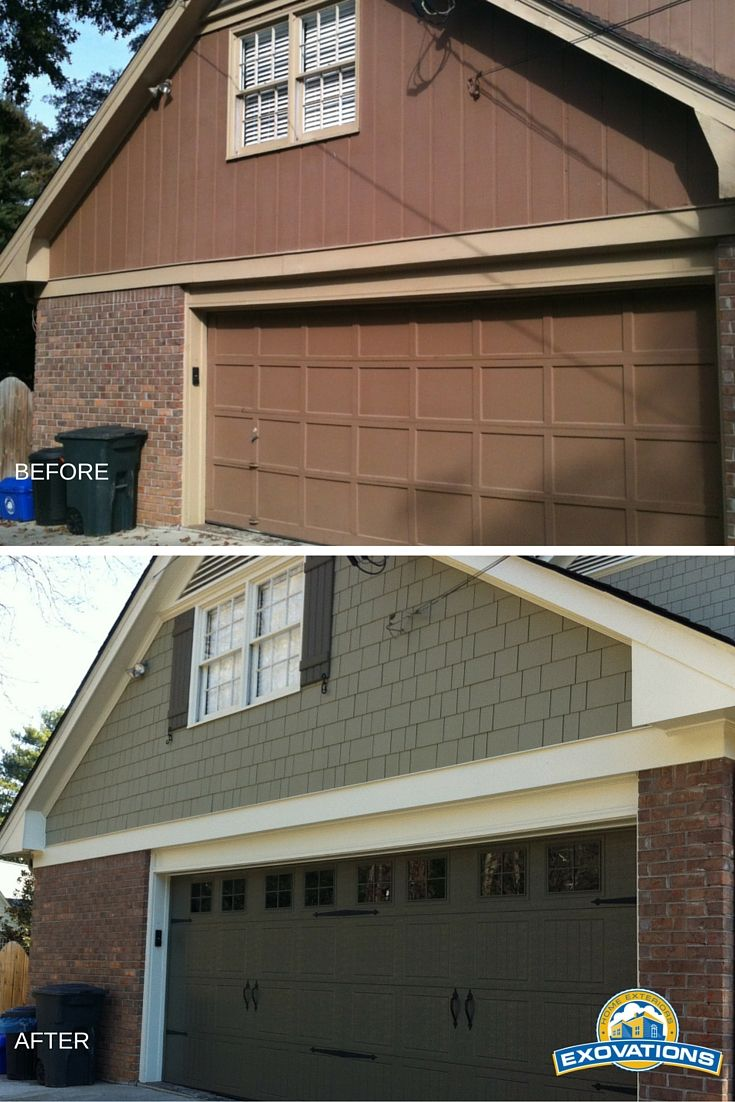 23 best exovations garage doors images on pinterest atlanta this exterior home remodel features new siding shutters and garage doors the result rubansaba
