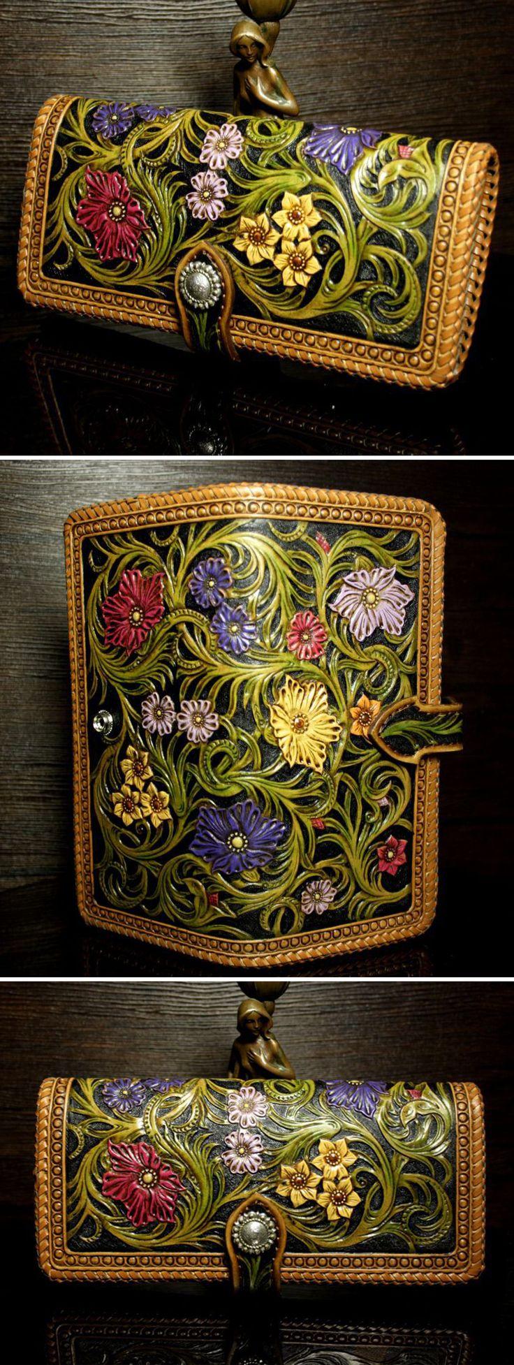 """Leather Wallet   Женский кожаный кошелек """"Волшебный сад"""" — работа дня на Ярмарке Мастеров"""