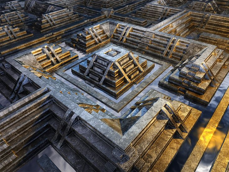 https://flic.kr/p/gxW8AH | Labyrinth | Labyrinth ©2013 Philipp Langer (Berlin/Germany)  View from above onto a step pyramid that is surrounded by water canals. Rendering of a digital 3d model with futuristic, technoid impression.