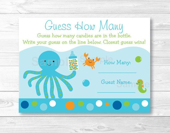 Blue Under The Sea Guess How Many Baby Shower Game