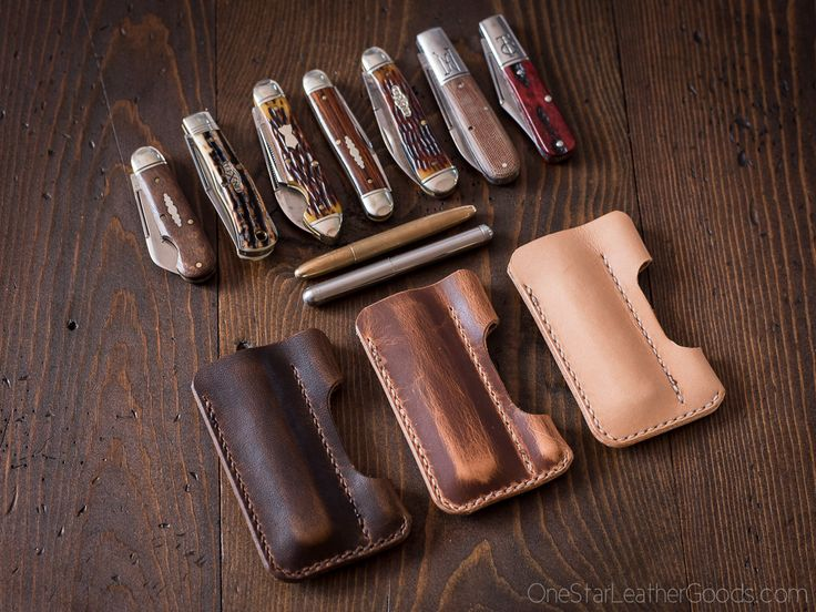 """EDC pocket knife and pen case """"the EDC1"""" in Horween veg tanned leather"""