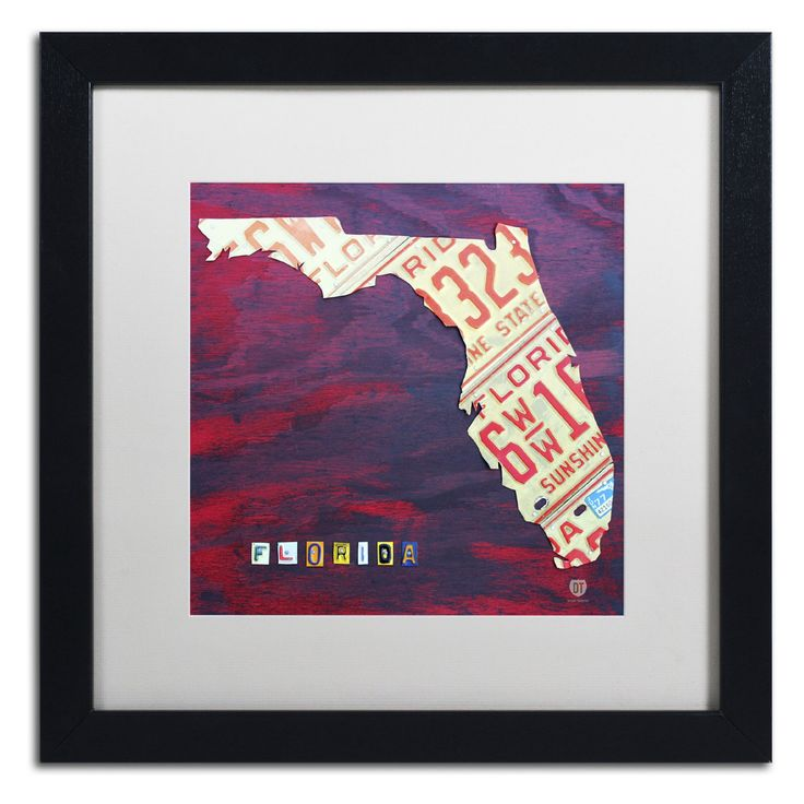 Trademark Fine Art Florida License Plate Framed Wall Art - ALI1267-B1111BMF