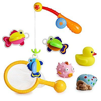 8 Pieces Set Floating Bath Toy with Net Fishing Games for Kids 18 Months and Up Baby Bathtime Fun, Color May Vary