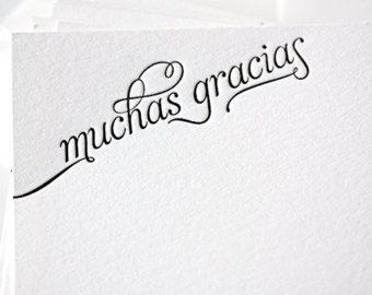 Muchas gracias Thank you en Español una tarjeta por HowjoyfulShop