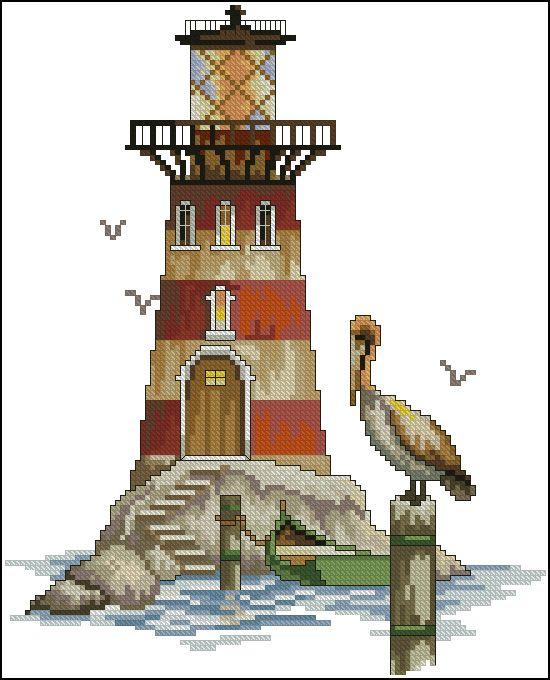 """Sacha düzeni nakış """"Deniz Feneri"""" Pelican Yuvası """""""""""