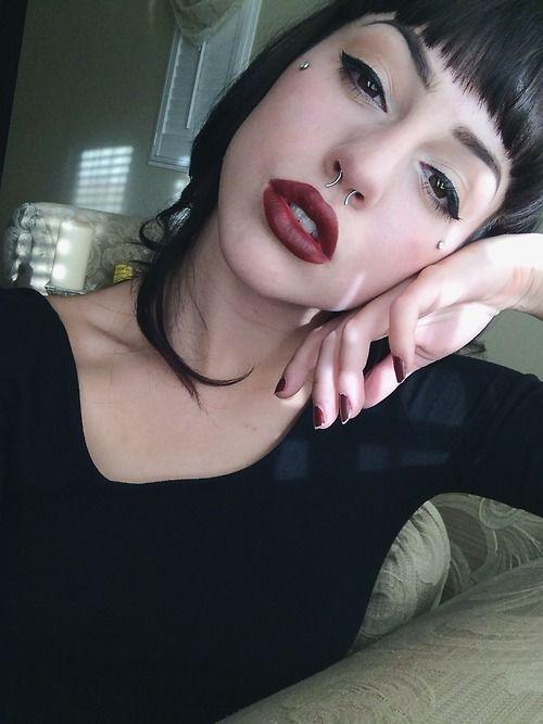 Makeup, black hair and bangs, microdermal piercings <3