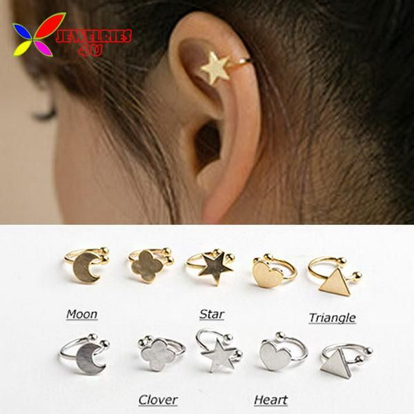 2014 fashion gold silver copper metal moon clover star heart triangle no pierced clip earrings ear cuffs for women boucle bijoux