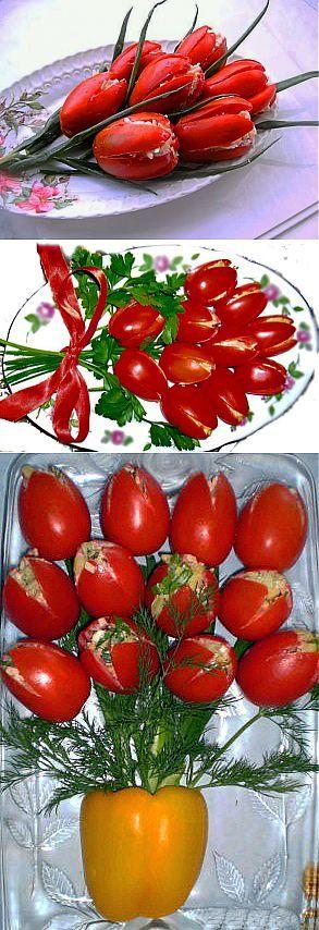 «Тюльпаны» к 8 марта (фаршированные помидоры) / Салаты,закуски,соусы / Рецепты на любой вкус / Женские секреты / Женский стиль \  Ингредиенты: • 3 средние сельди слабосоленые (или крепкосоленую вымочить), • 10 помидоров продолговатой формы, • 3 яйца, сваренных в крутую, • 100 г сыра, • 2 зубчика чеснока, • майонез, • зелень.         Приготовление