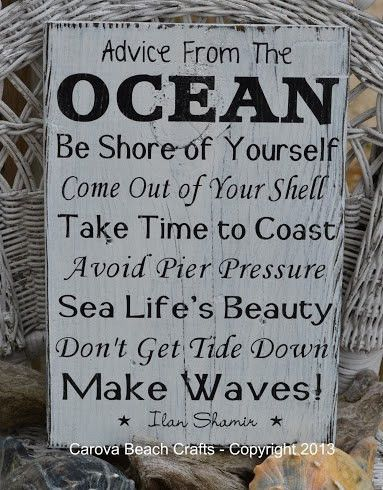 Beach Decor, Beach Sign, Advice From The Ocean Sign - Painted - Advice Ocean Sign - Beach Wall Decor - Beach House - Coastal Decor