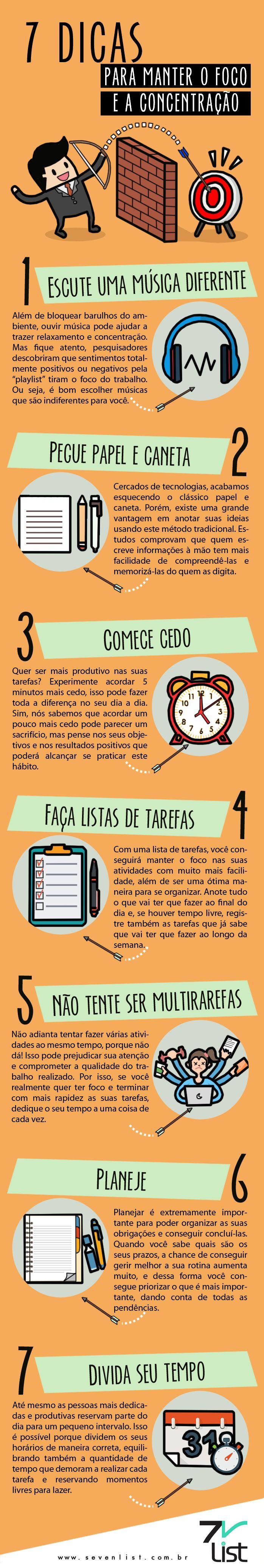 #Infográfico #Infographic #Design #Foco #Concentração #Organização #Música #Playlist #Papelecaneta #Tempo #Dicas #7dicas #Multitarefas www.sevenlist.com.br