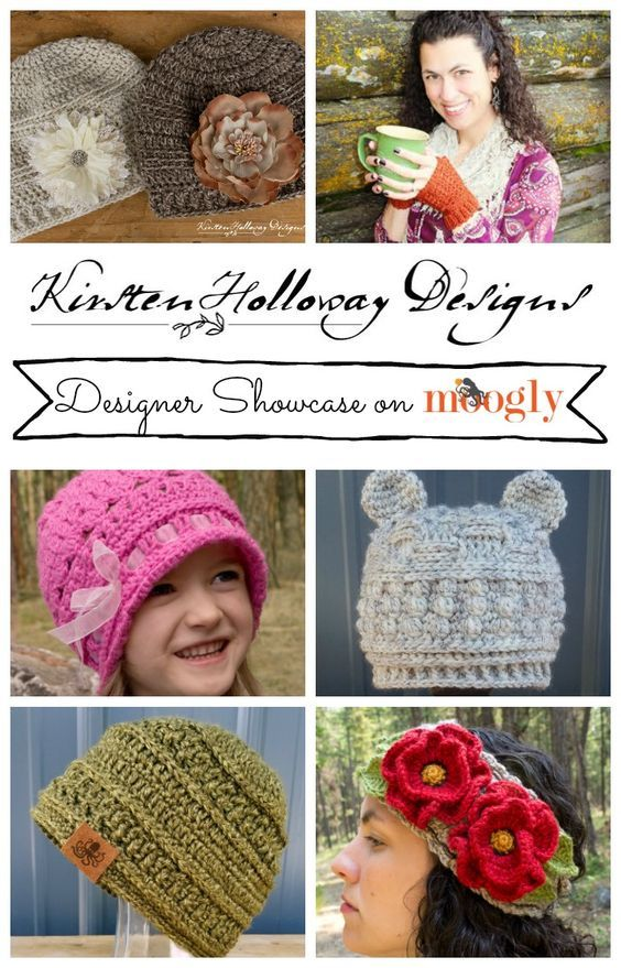 Free, crochet hat, and headband patterns for  women, men, kids and babies, from Kirsten Holloway Designs, featuring Lion Brand Yarn.